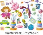 set of children's toys for... | Shutterstock .eps vector #74996467