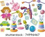 set of children's toys for... | Shutterstock .eps vector #74996467