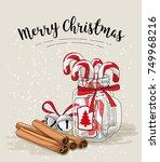 cristmas still life  candy... | Shutterstock .eps vector #749968216