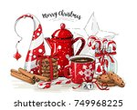 christmas still life  red tea... | Shutterstock .eps vector #749968225
