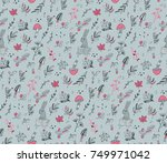 seamless pattern with cute hand ... | Shutterstock .eps vector #749971042