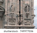milan cathedral. details. | Shutterstock . vector #749977036