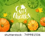 thanksgiving day. greeting card ... | Shutterstock .eps vector #749981536