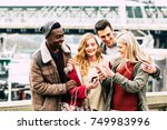 group of multiracial friends... | Shutterstock . vector #749983996