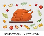 roasted turkey and vegetable | Shutterstock .eps vector #749984932
