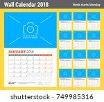 vector calendar planner... | Shutterstock .eps vector #749985316