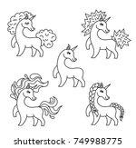 set of vector unicorn line... | Shutterstock .eps vector #749988775