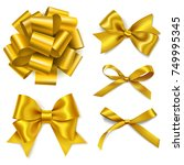 set of decorative golden bows... | Shutterstock .eps vector #749995345