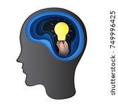 giving idea to human brain... | Shutterstock .eps vector #749996425