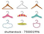 fashion and baby clothes hanger ... | Shutterstock .eps vector #750001996