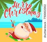 summer santa claus in shorts... | Shutterstock .eps vector #750002002