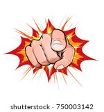 pointing finger on explosion... | Shutterstock .eps vector #750003142