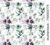 seamless pattern with flowers ...   Shutterstock . vector #750003775