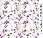 stylized flowers watercolor... | Shutterstock . vector #750003802