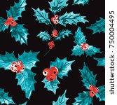 elegant winter seamless pattern ...   Shutterstock . vector #750004495