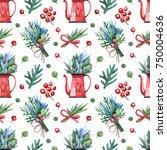 christmas seamless background. | Shutterstock . vector #750004636