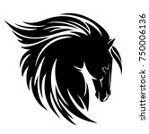 black horse profile head with... | Shutterstock .eps vector #750006136