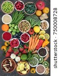 large health food collection... | Shutterstock . vector #750008728