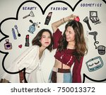 Small photo of Two Young Asian women friends having fun , playing and laughing , surrounded with cosmetics illustrator doodles - beauty blogger concept