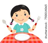cute girl holding a spoon and... | Shutterstock .eps vector #750014065