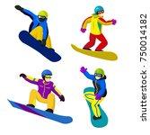set of vector flat cartoon... | Shutterstock .eps vector #750014182