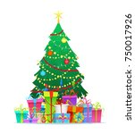 decorated christmas tree with... | Shutterstock .eps vector #750017926