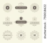 luxury logos templates set ... | Shutterstock .eps vector #750018622