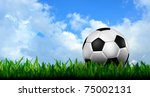 football in green grass over a blue sky - stock photo