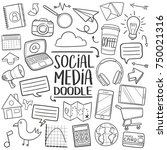 social media traditional doodle ... | Shutterstock .eps vector #750021316
