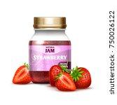 closeup glass jar with... | Shutterstock .eps vector #750026122