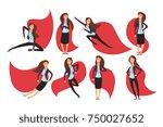 cartoon businesswoman superhero ... | Shutterstock .eps vector #750027652