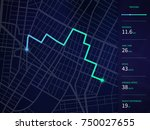 vector city map with route and... | Shutterstock .eps vector #750027655