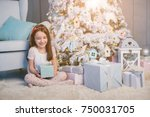 christmas presents opening time.... | Shutterstock . vector #750031705