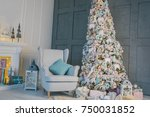 living room interior with... | Shutterstock . vector #750031852