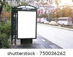 bus stop blank frame mockup in... | Shutterstock . vector #750036262