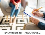 doctors notes. close up of a... | Shutterstock . vector #750040462