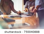 business meetings of real... | Shutterstock . vector #750040888