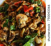 Small photo of Local thai food closeup name as Kob pad ped .