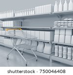 shelves with many goods in... | Shutterstock . vector #750046408