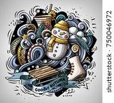 cartoon vector doodles winter... | Shutterstock .eps vector #750046972
