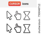 mouse hand arrow. pixel cursors ... | Shutterstock . vector #750048712