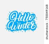 hello winter hand written... | Shutterstock . vector #750049168