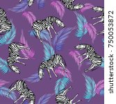 zebra and palm leaves  colorful ... | Shutterstock . vector #750053872