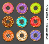 a set of bright donuts with... | Shutterstock .eps vector #750055072