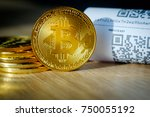 bitcoin golden coins and paper... | Shutterstock . vector #750055192