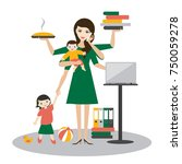 multitask woman. mother ... | Shutterstock .eps vector #750059278