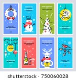 super set of christmas and new... | Shutterstock .eps vector #750060028