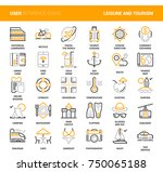 vector set of leisure and... | Shutterstock .eps vector #750065188