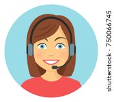 woman in call center flat... | Shutterstock .eps vector #750066745