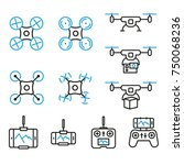 flying drone flat line style... | Shutterstock .eps vector #750068236